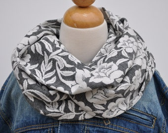 Gray Infinity Scarf - Gray Knit Infinity Scarf - Floral Infinity Scarf