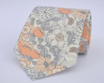 Boy's Necktie Coral Peach Floral Tie Baby Necktie Toddler Necktie Wedding Necktie