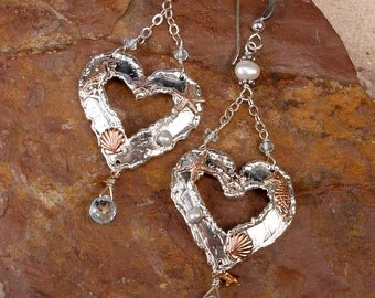 SIREN'S HEART - OOAK Sterling Silver Hearts Featuring Tiny Seahorse, Starfish, Scallop Shell, Pearl, Blue Topaz