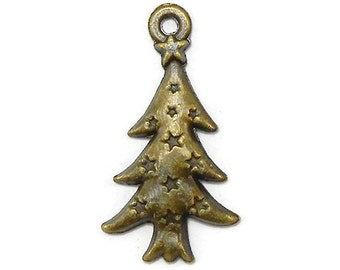10 Christmas Tree Charms Bronze Tone Metal (S276)