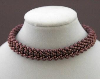 Lavender Swarovski Pearls and Delica Flat Spiral Bracelet