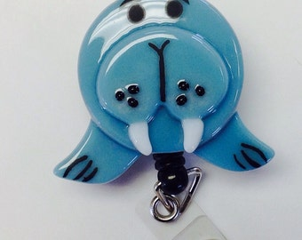 Retractable Badge Reel Fused Glass Walrus.