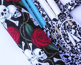 knitting needle case  -  knitting needle organizer - circular knitting needle case - skulls and roses - 36 pockets