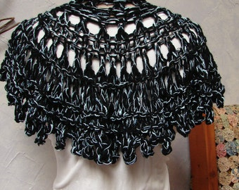 Shawl or Wrap Black, Ice Blue, Light Blue, Lace Hand Knit Acrylic and Cotton Shawl or Wrap