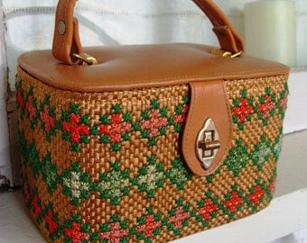 Vintage Woven and Embroidered Box Style Purse Clutch Handbag