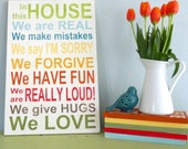 Family Rules Sign.  In this house Family motto sign. custom family sign. Rustic Decor. Kitchen decor.