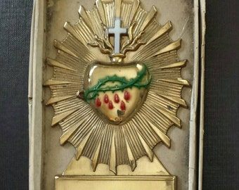 Sacred Heart Coffin Plaque - new old stock