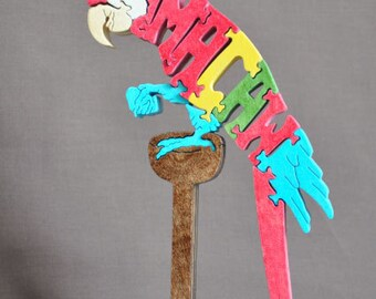 Macaw  Parrot Bird  Animal Puzzle Wooden Toy Hand  Cut with Scroll Saw