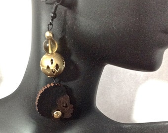 Afrocentric  Jewelry Silhouette Wooden Earrings