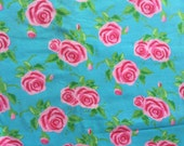 Gorgeous Pink Shabby Chic Cabbage Roses on Aqua Boutique Knit Fabric