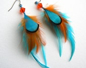 Turquoise and Orange Feather Earrings