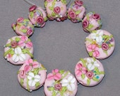 Lampwork Beads SRA Ten Pink Orphans with Rosebuds Vines Blossoms White Flowers Pink Floral Beads