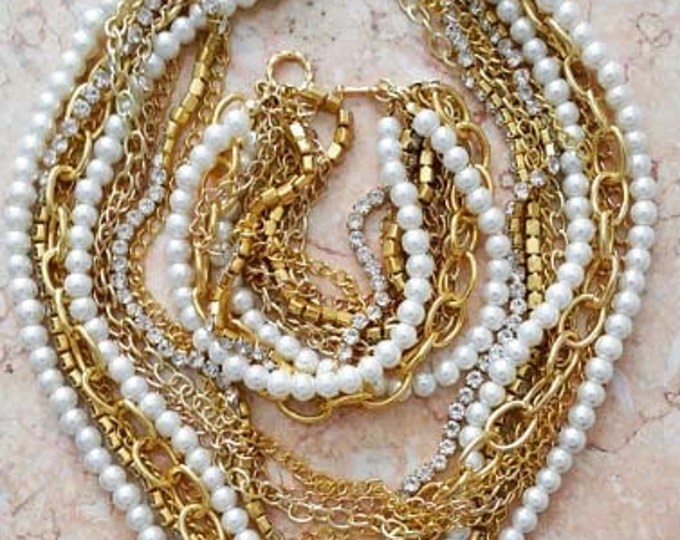 Chunky Gold Chain Pearl Necklace
