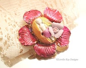 Pink Flower Frozen Charlotte Brooch Small Flower Pin Spring Time Broach Lorelie Kay Designs