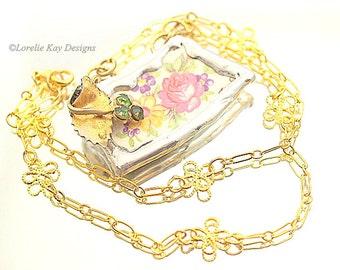 Roses Broken China Necklace Soldered Necklace Flower Basket Pendant