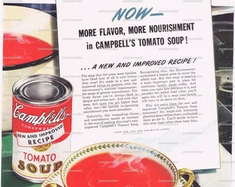 RED,Campbells Soup.Tomato.Life magazine.original.page.advertisement.wartime.1943.home deco.kitchen vintage.foodie.chef.mom.comfort food.art