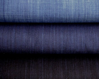 Set of 3 colors Japanese High-quality Cotton Solid Indigo Fabric (50cm each)