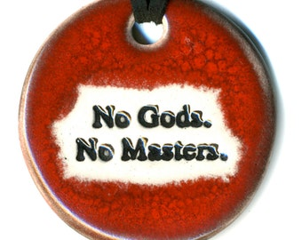 No Gods No Masters Ceramic Necklace in Red