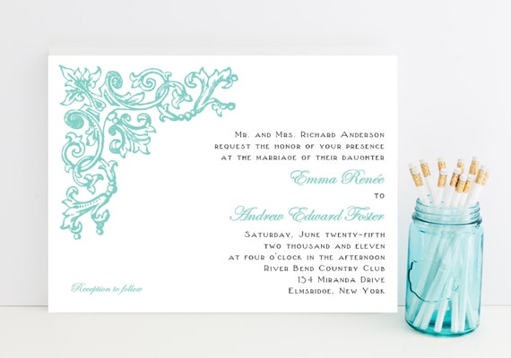 Ornate Vintage Wedding Invitations - Art Nouveau, Victorian, Flourish Wedding Invitation