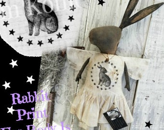 Instant Standing Primitive Rabbit Doll Angel Download Pattern PDF Bunny Patterns Digital Print Fabric Standing Sitting Cloth Kim Kohler