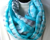 Bright Aqua - Hand Dyed Silk Infinity scarf for Women or Men Unique Handmade Scarves Summer Scarves Cowl Scarf