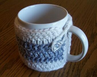 Crochet Denim Blue and White Coffee Mug Cozy