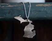 State Necklace - State Pendant - Michigan State Necklace - Mitten State - Sterling Silver State Necklace - EcoFriendly Sterling Silver N2086