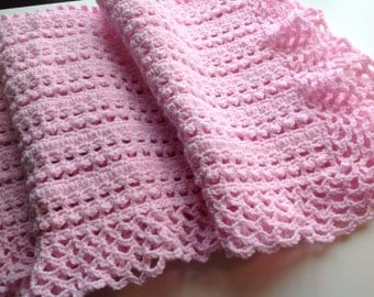 Pink Baby Blanket, Baby Afghan, Pink Baby Afghan, Crochet Baby Blanket - Ready to Ship!