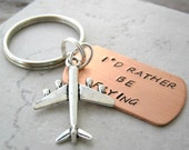 I'd Rather Be Flying Keychain with airplane charm, pilot gift, aviation, aviator, planes, optional personalized initial disc