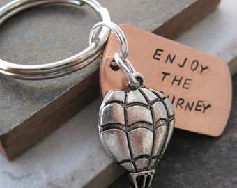 Enjoy the Journey Keychain, hot air balloon charm, inspirational, motivational, inspire, positive outlook, optimistic, optimism, happiness