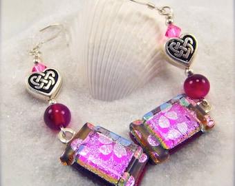 Fused dichroic glass, Dichroic Earrings, Heart earrings, Fused glass jewelry, handmade, Hana Sakura, Glass fusion, unique jewelry, dichroic