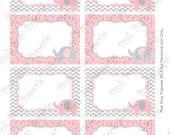 Printable Pink Elephant Baby Shower Food Labels - Instant Download