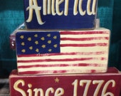 America Since 1776 Sign Patriotic decor stacking 2 x 4  Wood Blocks shelf sitter Americana folk art Trimble Crafts