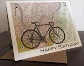 Carte de Boston et vélo, carte d'anniversaire - carte de voeux sérigraphiée