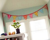 Carnival Theme Fabric Flag Banner. Nursery, Bedroom, Party or Wedding Bunting.  Yellow, Aqua, Red, Pink Garland Flags Designer's Choice