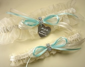 Personalized Aqua / Robin's Egg Blue Wedding Garter Set with Swarovski Crystals, in White or Ivory with Engraving of Names and Date