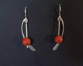Sterling Silver Red Jasper Fan Earrings