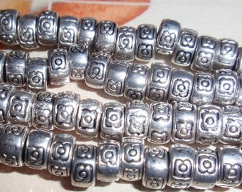 Tribal Silver Spacer Beads,Accent Antiqued Silver Bead Strand