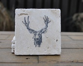 Deer Natural Stone Coasters. Set of 4. Gift for Him, Buck, Antlers