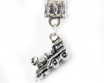 Silver Train Locomotive Lrg Hole Bead Fits All European Add a Bead Charm Bracelet Jewelry Pnd-G201