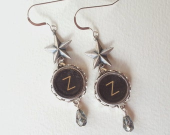 SWEET DREAMS - Antique Typewriter Key Earrings Z Star Dangle OOAK Unique Vintage Sparkle Royal 1930s Upcycled