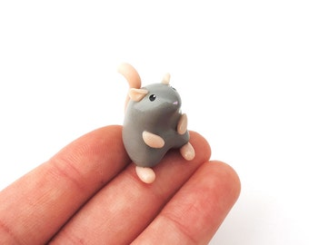 Little Grey Mouse Miniature Totem Polymer Clay Figure
