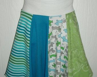 Girls 7-8 Repurposed Dachshund Doggy Skirt