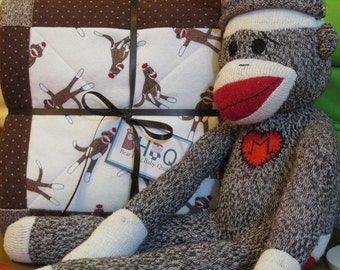 FUNKY SOCK MONKEY brown & cream Flannel Baby Crib Quilt