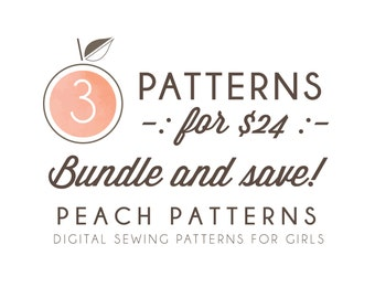 Choose ANY 3 PATTERNS Bundle and Save on 3 Peach Patterns PDF sewing patterns for toddlers girls clothes