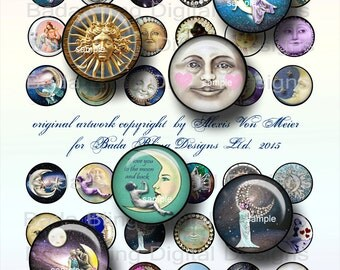25mm circles, Sun, moon, stars, celestial graphics, collage sheets,  INSTANT  Digital Download, for charms, glass pendants, bottle caps