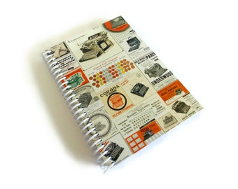 Working Typewriter Spiral Notebook, Writing Spiral Bound Journal Pocket A6 Back to School Sketchbook Blank Vintage Office 4x6 Gifts Under 20