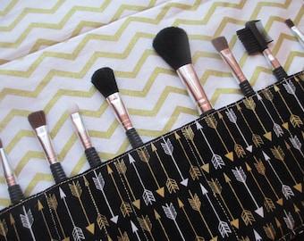 Makeup brush holder , makeup brush roll, Crochet hook organizer, arrows.