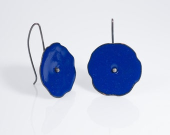 Cobalt Blue Poppy Blossom Earrings Blue enamel with Sterling Silver Wires
