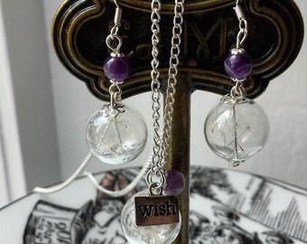 Sterling silver Dandelion earrings gemstone seed wish flower earrings, your choice of gemstone amethyst rose quartz etc